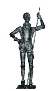 Δον Κιχώτης, σφυρήλατος χαλκός, ύψος 190 εκ., Κατράκειο Θέατρο Νίκαιας (τοποθετήθηκε το 1993)