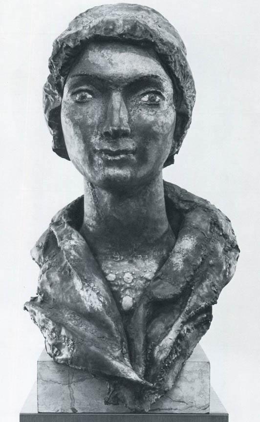 Προτομή της κυρίας Μ.Κ., 1976, σφυρήλατος χαλκός και σμάλτο, ύψος 65 εκ., ιδιωτική συλλογή, Αθήνα