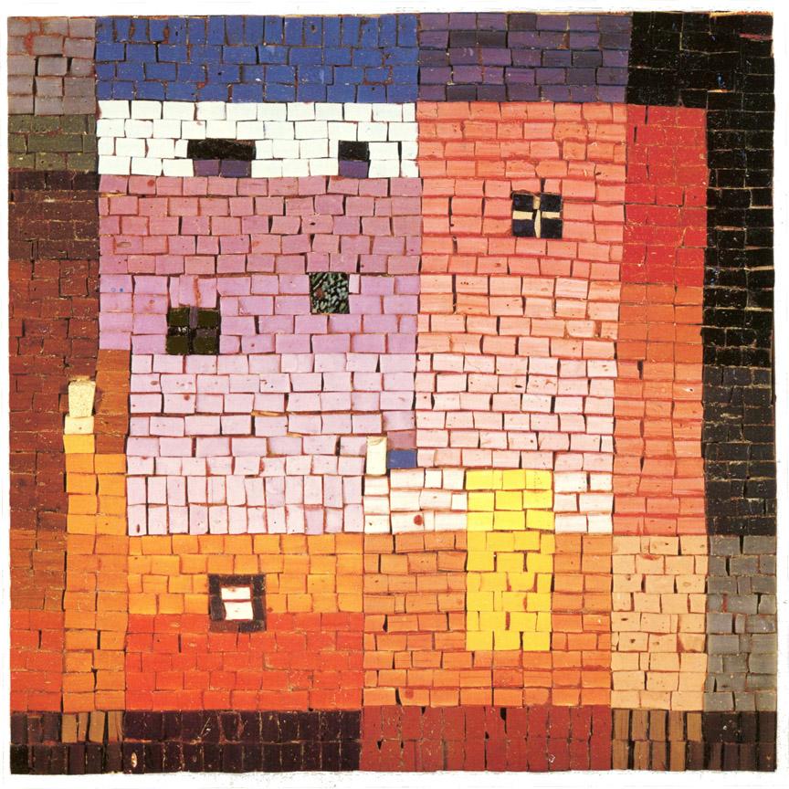 Σπίτια, 1973, ψηφιδωτό, 40 x 40 εκ., ιδιωτική συλλογή