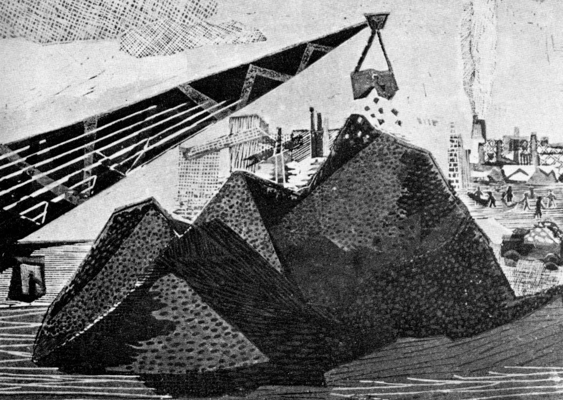 Γερανός Ι, 1958-60, ξυλογραφία, 27 x 39 εκ.