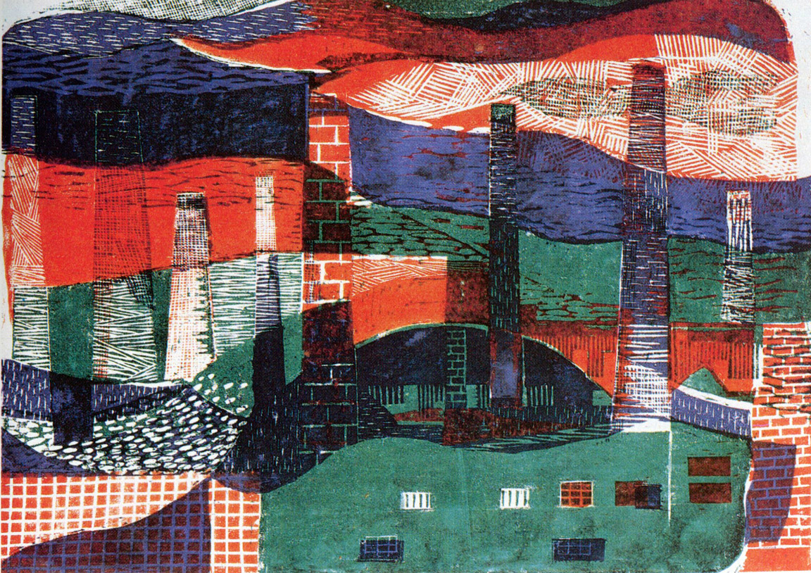 Καμινάδες Ι, 1959, έγχρωμη ξυλογραφία, 24,6 x 25 εκ.
