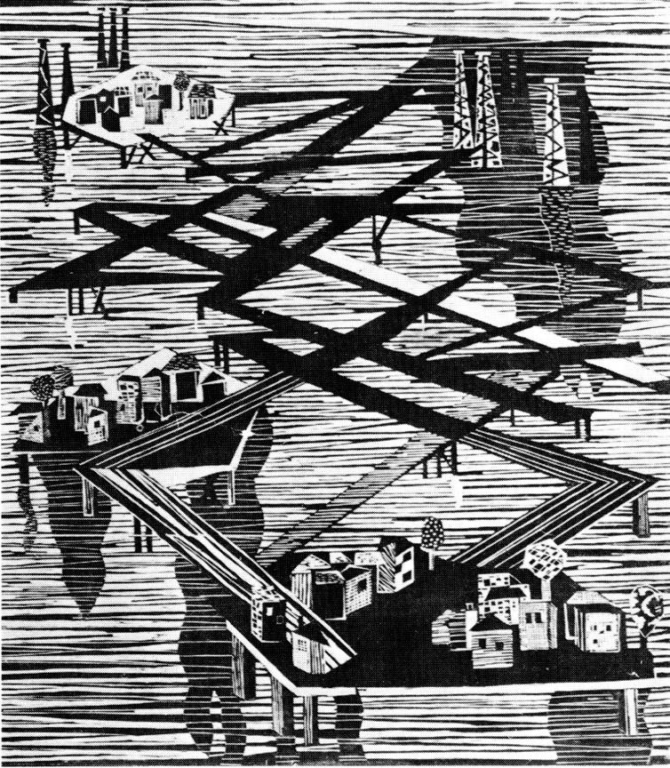 Χωριό πετρελαιοεργατών στη θάλασσα, 1964, ξυλογραφία, 48,5 x 41,5 εκ.