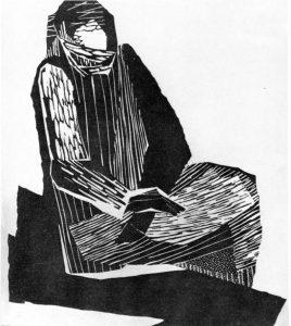 Στη φυλακή, 1961, ξυλογραφία, 29,4 x 24,2 εκ.