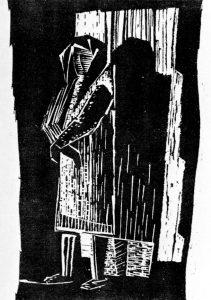 Στη φυλακή, 1961, ξυλογραφία, 27,5 x 17 εκ.