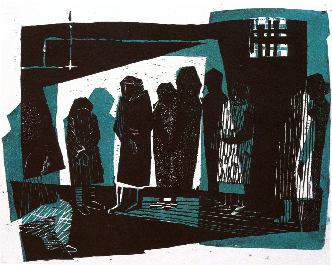 Στη φυλακή, 1961, λινόλεουμ, 28,8 x 20,8 εκ.