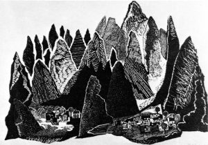 Βουνά της Αρμενίας ΙΙ, 1970, ξυλογραφία, 38,7 x 58 εκ.