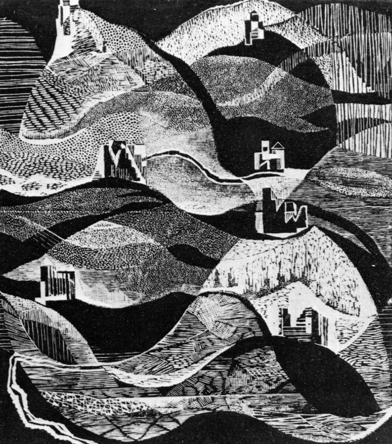 Βουνά της Γεωργίας ΙΙ, 1970, ξυλογραφία, 56,5 x 50 εκ.