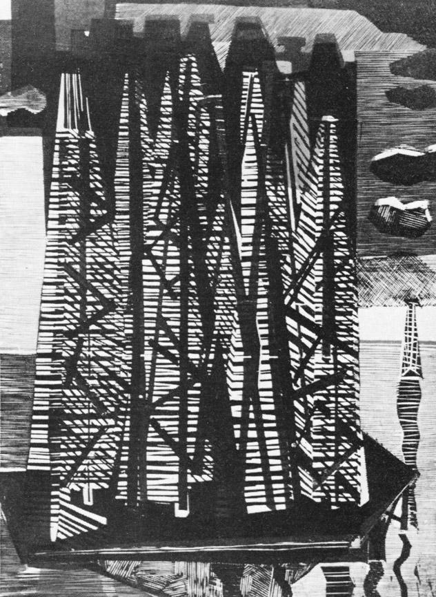 Πετρελαιοπηγή Ι, 1968, ξυλογραφία, 53,3 x 38 εκ.