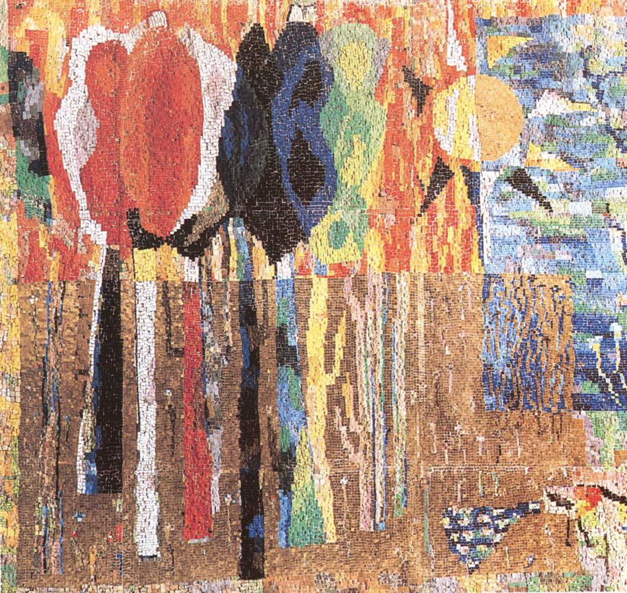 Παραμύθι για το δάσος (λεπτομέρεια), 1965-67, ψηφιδωτό, Γυμνάσιο του Ερντ