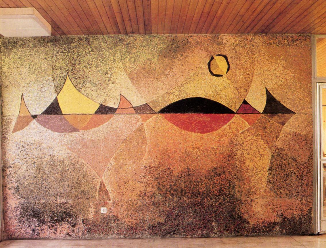Τοπίο του Μπάλατον, 1971-72, ψηφιδωτό, Γυμνάσιο του Ερντ, παραθεριστικό ξενοδοχείο του χαλυβουργείου της πόλης Ντουναουϊβάρος στο Σιπ Λακ