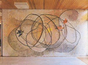 Ψάρεμα, 1971-72, ψηφιδωτό, Γυμνάσιο του Ερντ, παραθεριστικό ξενοδοχείο του χαλυβουργείου της πόλης Ντουναουϊβάρος στο Σιπ Λακ