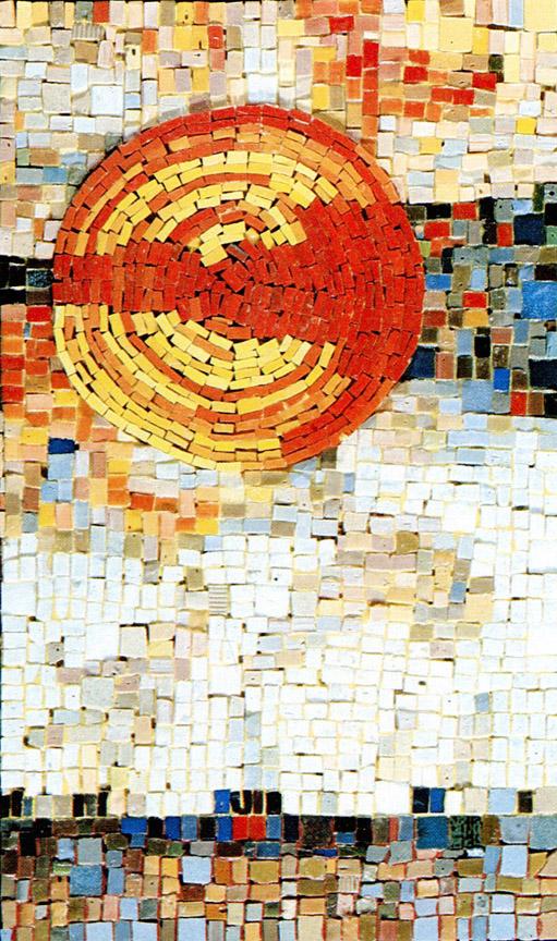Κόκκινος ήλιος, δεκαετία του 1970, ψηφιδωτό, 60 x 38 εκ., ιδιωτική συλλογή
