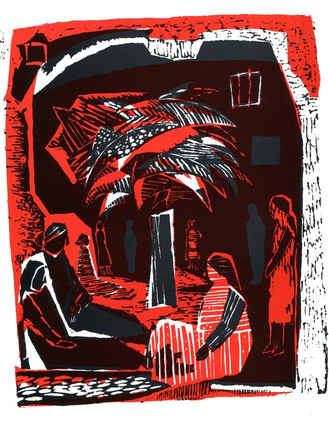 Στη φυλακή, 1961, δίχρωμη ξυλογραφία, 30 x 26 εκ.