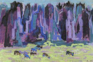 Πέτρινο δάσος, περ. 1957-62, παστέλ σε χαρτί, 23 x 33,5 εκ., ιδιωτική συλλογή