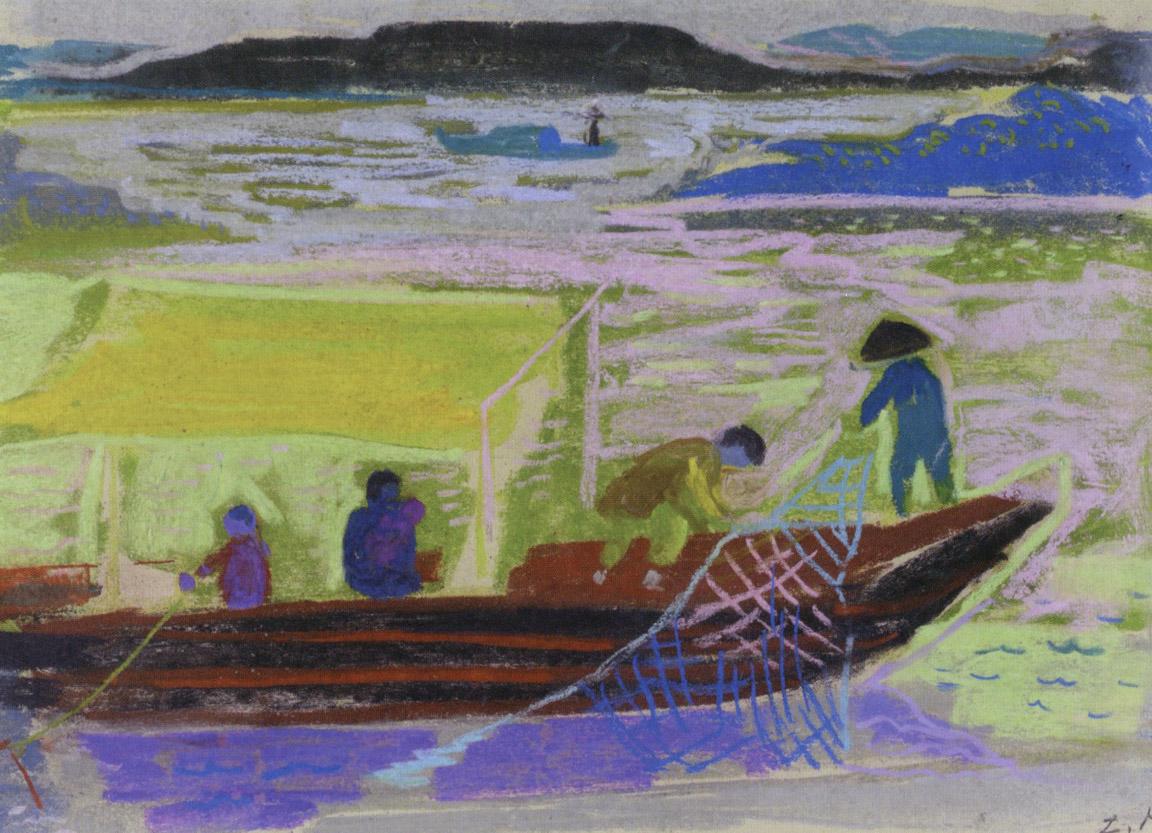 Ψάρεμα στον Γιανγκ Τσε, περ. 1957-62, παστέλ σε χαρτί, 31 x 43 εκ., ιδιωτική συλλογή