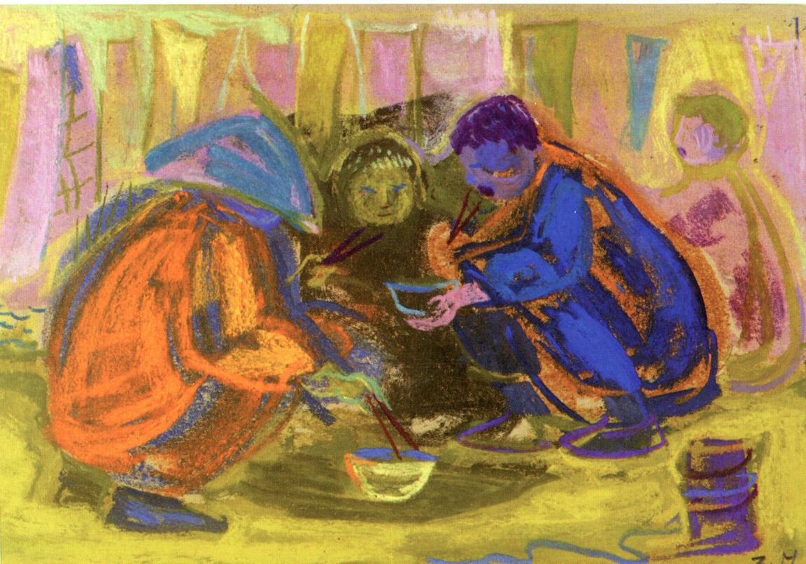 Μεσημεριανό διάλειμμα ΙΙ, περ. 1957-62, παστέλ σε χαρτί, 24 x 34 εκ., ιδιωτική συλλογή