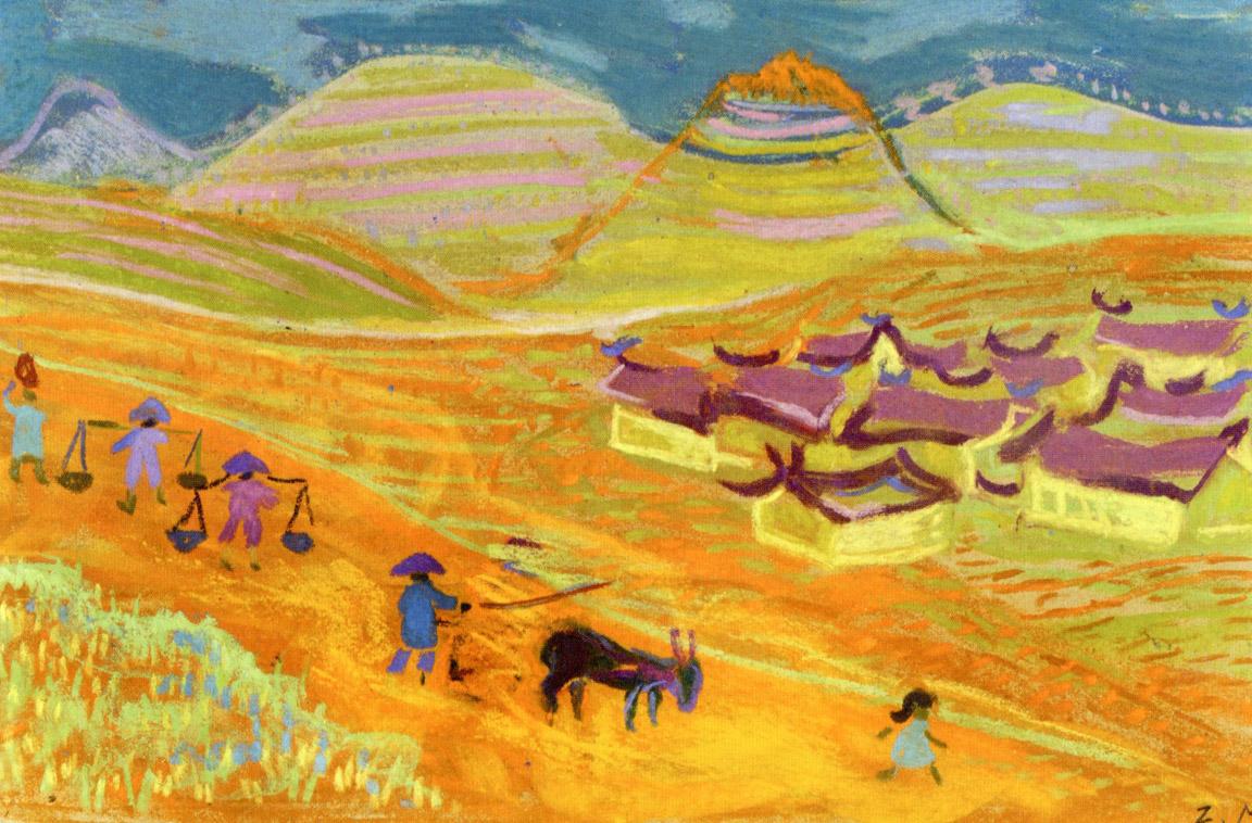 Χωριό Ι, περ. 1957-62, παστέλ σε χαρτί, 22,7 x 34,5 εκ., ιδιωτική συλλογή