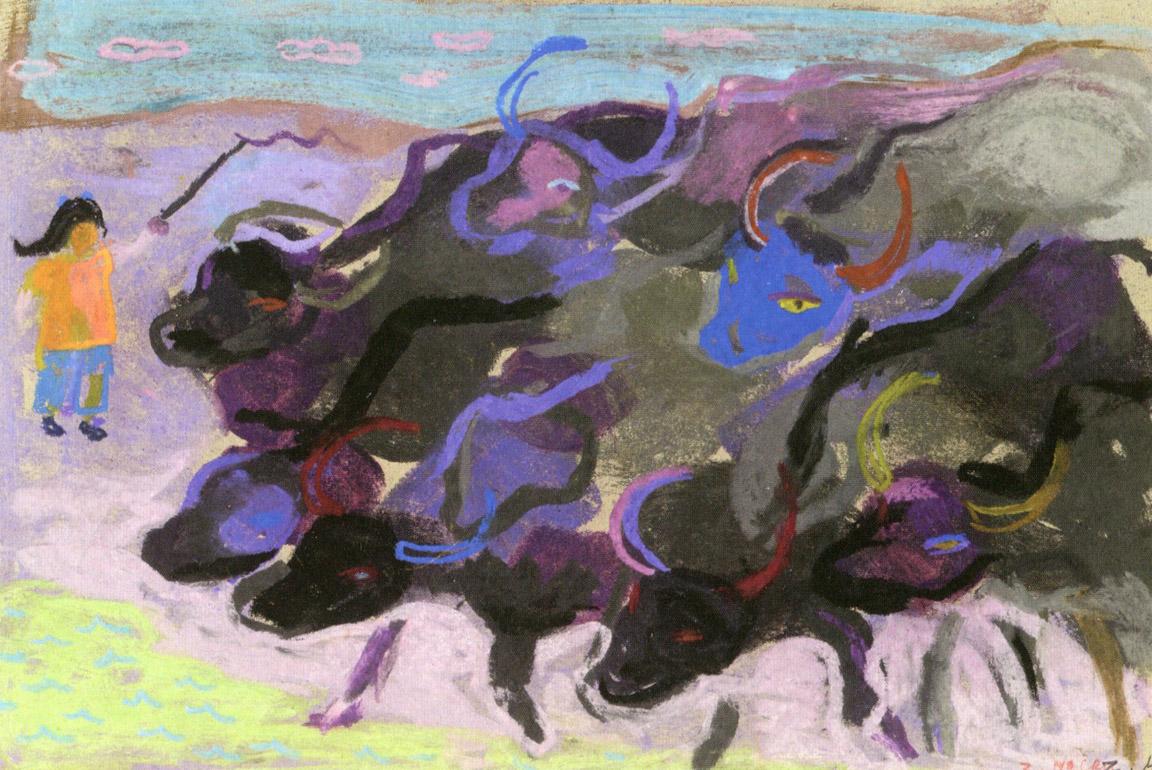 Βουβάλια, περ. 1957-62, παστέλ σε χαρτί, 24 x 34,5 εκ., ιδιωτική συλλογή