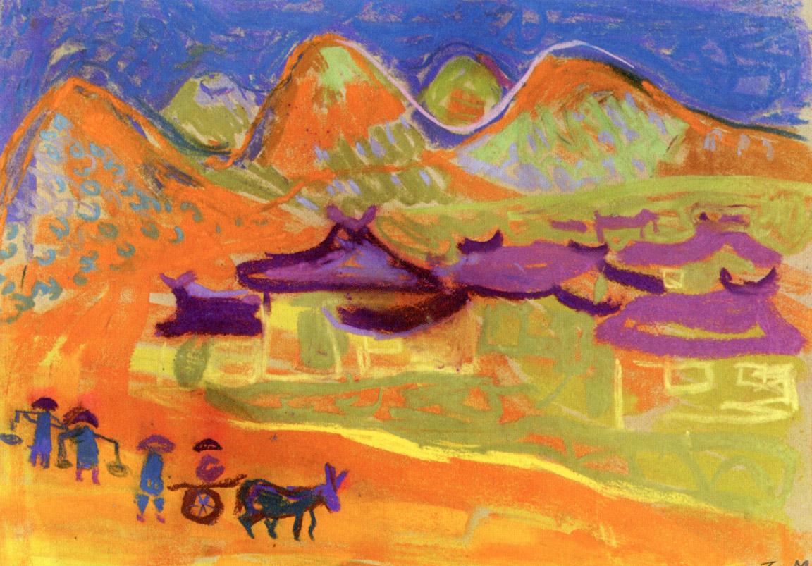 Χωριό ΙΙΙ, περ. 1957-62, παστέλ σε χαρτί, 31,2 x 40,2 εκ., ιδιωτική συλλογή