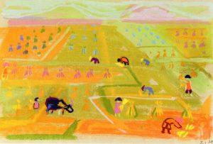 Δουλειά στον Κάμπο ΙΙ, περ. 1957-62, παστέλ σε χαρτί, 26 x 38 εκ., ιδιωτική συλλογή