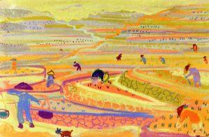 Ορυζώνας ΙΙ, περ. 1957-62, παστέλ σε χαρτί, 26 x 38 εκ., ιδιωτική συλλογή