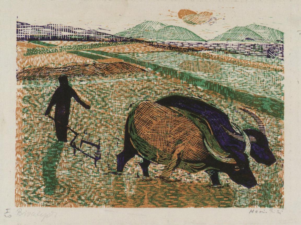 Όργωμα με βουβάλια, 1956-58, έγχρωμη ξυλογραφία, 17 x 22,5 εκ.