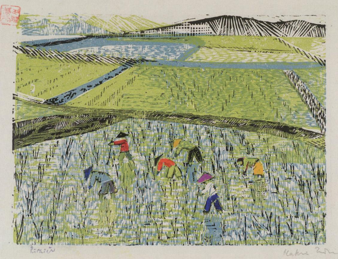 Ορυζώνας ΙΙ, 1956-58, έγχρωμη ξυλογραφία, 17 x 22 εκ.