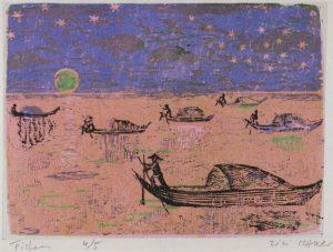 Νυχτερινοί ψαράδες, 1956-58, έγχρωμη ξυλογραφία, 17 x 22 εκ