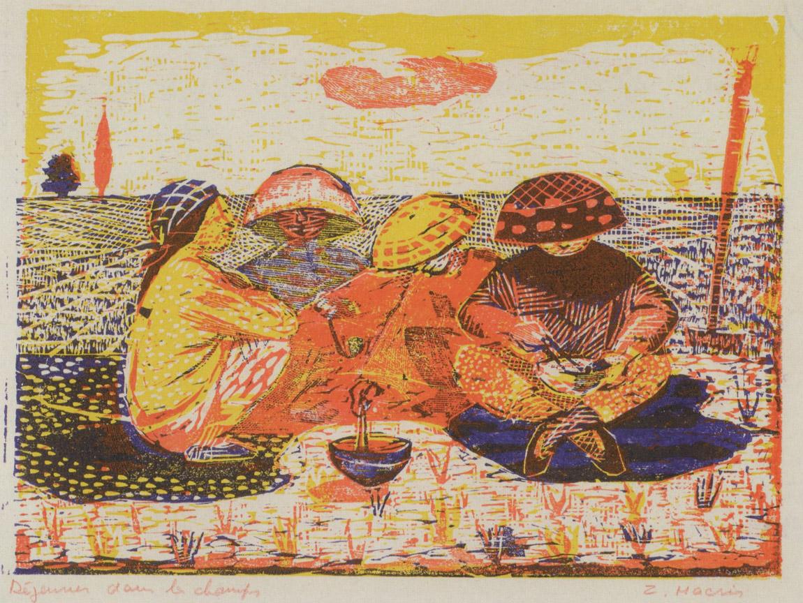 Διάλειμμα στον κάμπο, 1956-58, έγχρωμη ξυλογραφία, 17 x 23 εκ.