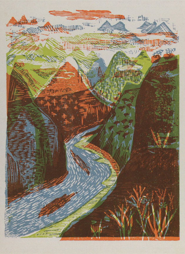 Οι πηγές του Γιανγκ Τσε, 1956-58, έγχρωμη ξυλογραφία, 22 x 17 εκ.