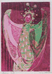 Όπερα Ι, γυναικείος ρόλος , 1956-58, έγχρωμη ξυλογραφία, 22 x 17 εκ.