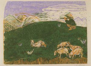 Βοσκός, 1956-58, έγχρωμη ξυλογραφία, 17 x 23 εκ.
