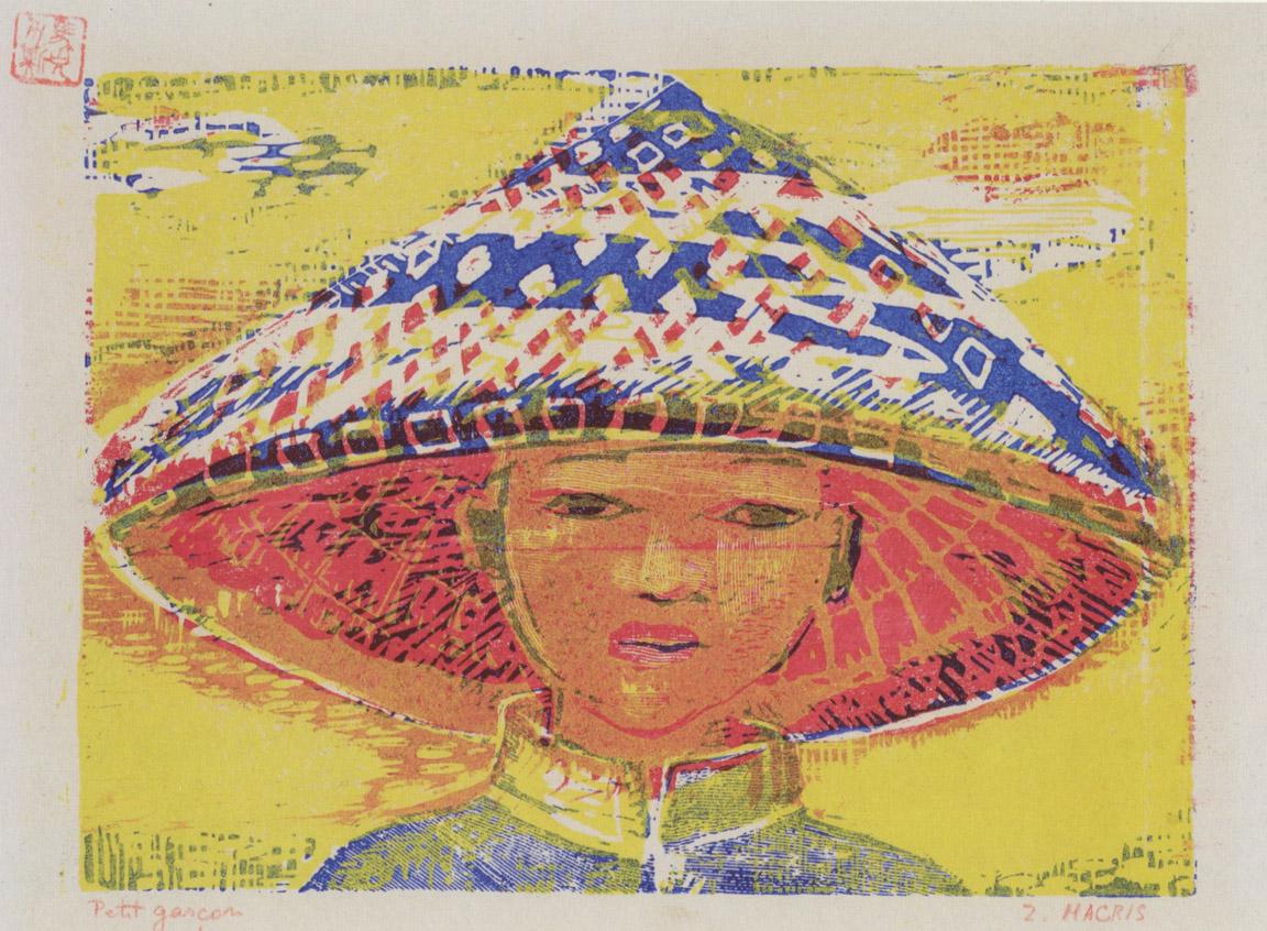 Αγόρι με καπέλο, 1956-58, έγχρωμη ξυλογραφία, 17 x 22 εκ.