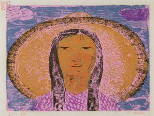 Νεαρή κοπέλα, 1956-58, έγχρωμη ξυλογραφία, 17 x 23 εκ.