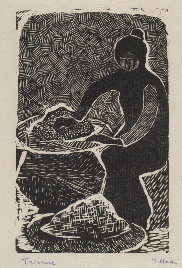 Διαλογή ρυζιού, 1956-58, ξυλογραφία, 16 x 10,5 εκ.