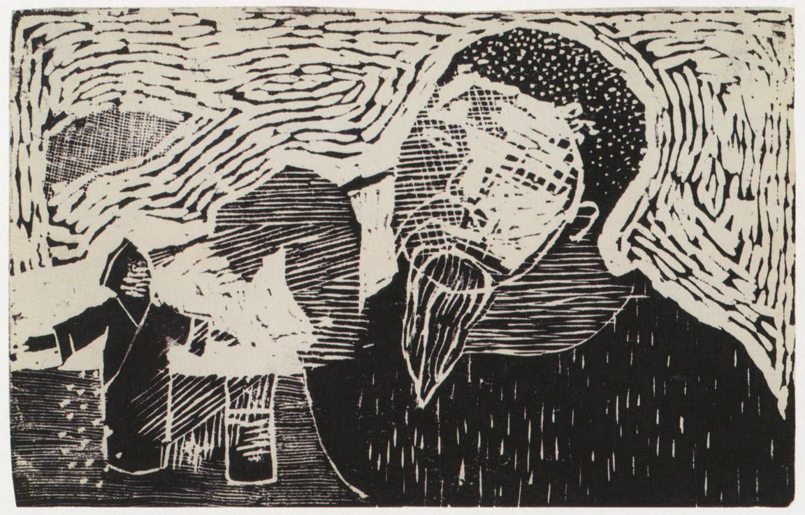 Καλλιτέχνης που φτιάχνει φιγούρες από την όπερα, 1956-58, ξυλογραφία, 10 x 16,5 εκ.
