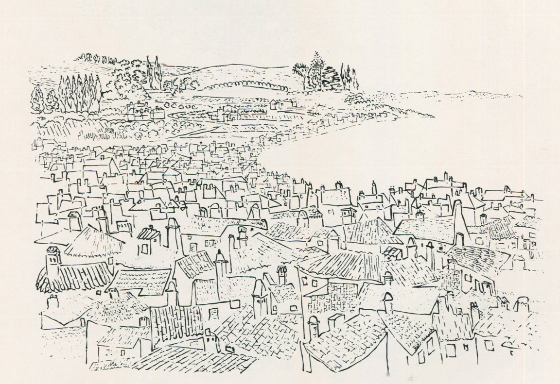 Ιταλική κωμόπολη, 1976, μελάνι σε χαρτί, 41 x 45 εκ., ιδιωτική συλλογή